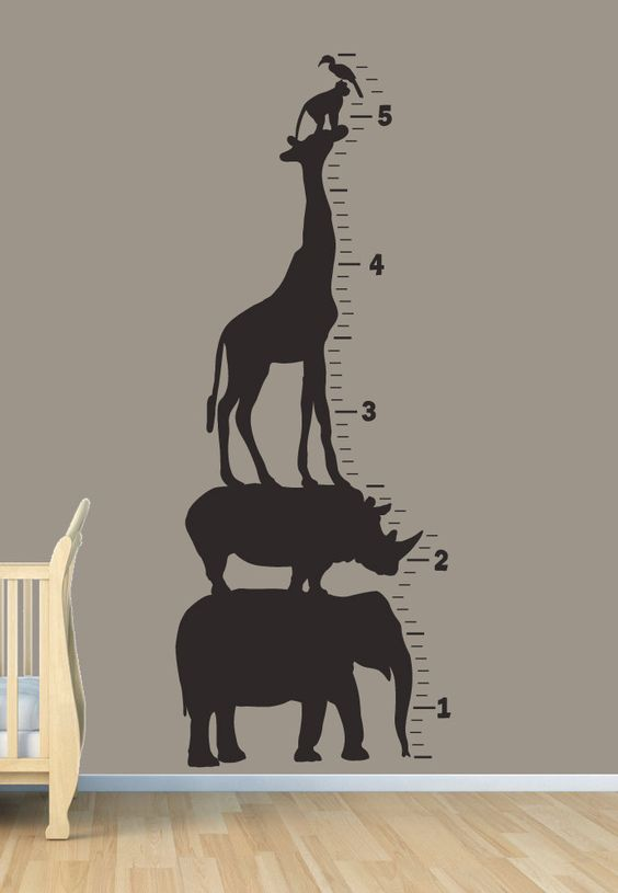 Meetalt langs de muur in de babykamer
