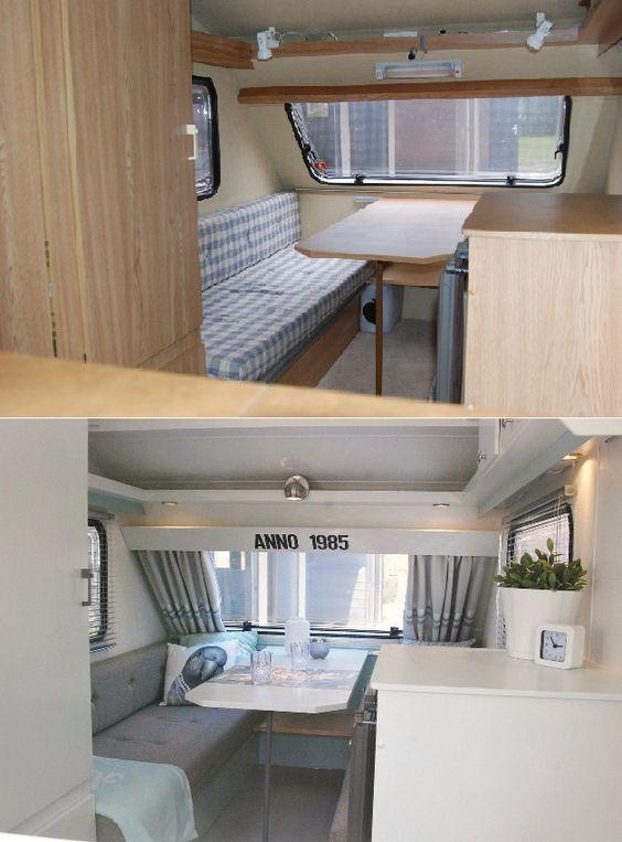 Camper interieur voor en na de aanpassingen