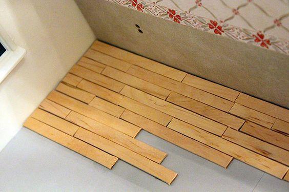 x diy ideeen poppenhuis vloer van ijsstokjes