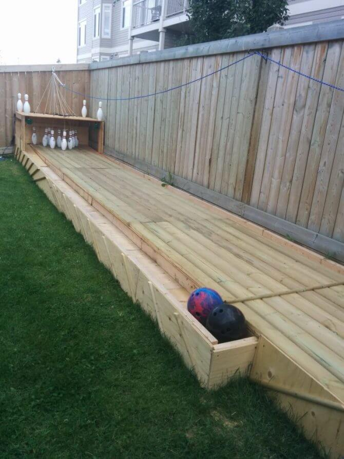 Bowlingbaan in de tuin