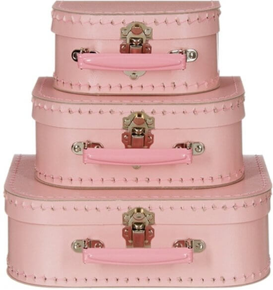Leuk roze koffertje als kraamcadeau