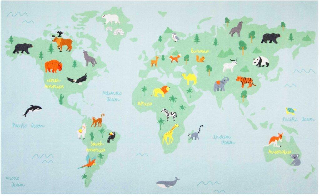 Vloerkleed World Map met plattegrond met dieren